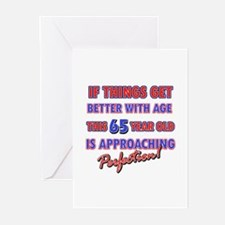 Funny 65th Birthdy designs Greeting Cards (Pk of 2