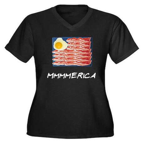 Mmmmerica Women's Plus Size V-Neck Dark T-Shirt