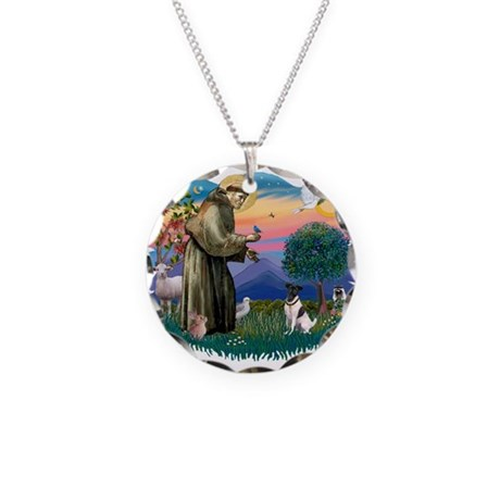 St Francis #2/ Fox Terrier Necklace Circle Charm