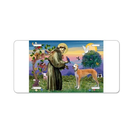 St Francis / Greyhound (f) Aluminum License Plate