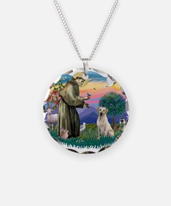 St.Francis #2/ Yellow Lab Necklace Circle Charm