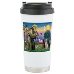St. Francis/3 Labradors Travel Mug