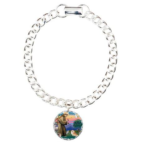 St.Francis #2/ Pomeranian (r) Charm Bracelet, One