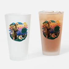St.Francis #2/ Pomeranian(3) Drinking Glass