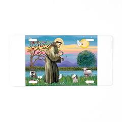 St Francis / Poodle (parti) Aluminum License Plate