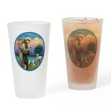 St Francis / Poodle (parti) Drinking Glass
