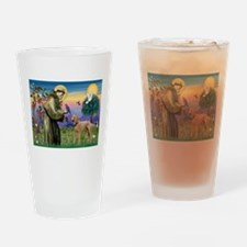St Francis / Std Poodle(a) Drinking Glass