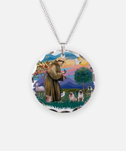 St.Francis #2/ Pugs (2 fawn) Necklace