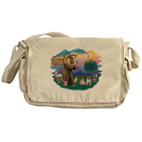 St.Francis #2/ Pugs (2 fawn) Messenger Bag