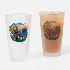 St.Francis #2/ Pugs (2 fawn) Drinking Glass