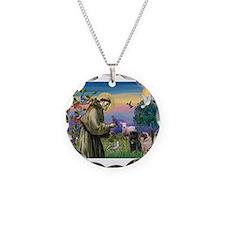 Saint Francis & Two Pugs Necklace