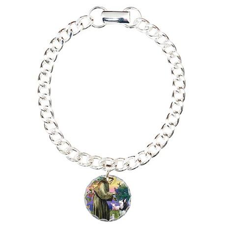 St Francis & Husky Charm Bracelet, One Charm