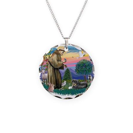 St.Francis #2/ Tibetan Spani Necklace Circle Charm