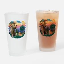 St.Francis #2/ Welsh Corgi Drinking Glass
