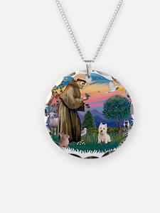 St Francis #2/ Westie Necklace Circle Charm