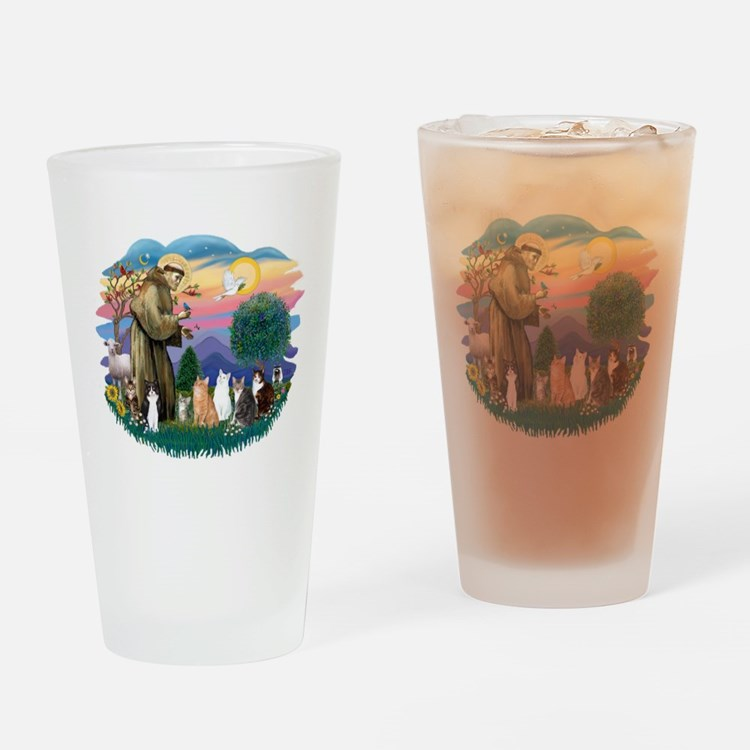 St. Fran2 - 7 AmSH cats Drinking Glass