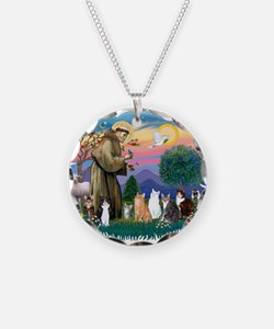 St. Fran2 - 7 AmSH cats Necklace