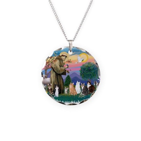 St. Fran2 - 7 AmSH cats Necklace Circle Charm