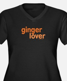 Ginger Lover Women's Plus Size V-Neck Dark T-Shirt