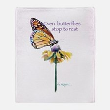 Monarch butterfly resting Throw Blanket