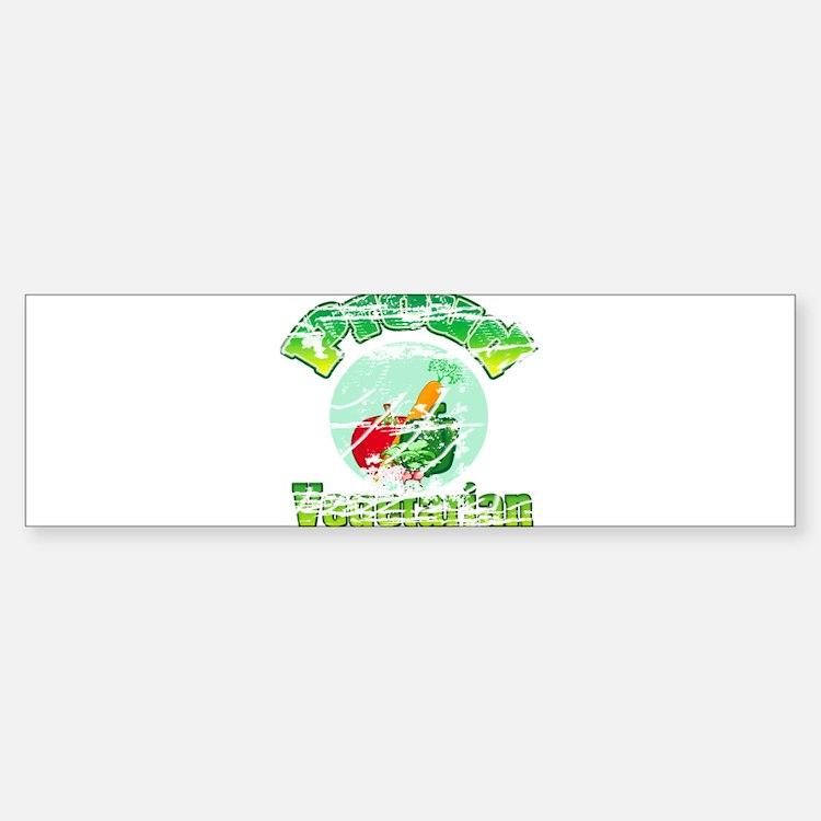 Vintage Proud Vegetarian Sticker (Bumper)
