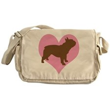 french bulldog & heart Messenger Bag