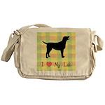 plaid love my lab Messenger Bag