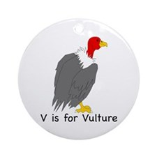 V is for Vulture Ornament (Round)