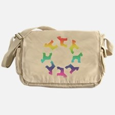 Rainbow Schnauzer Circle Messenger Bag