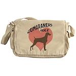 Weims Rule Pink Heart Messenger Bag