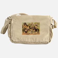 Dog Group From Antique Art Messenger Bag