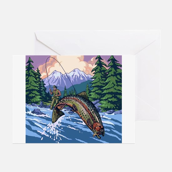 Mountain Trout Fisherman Greeting Cards