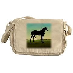 Grassy Field Horse Messenger Bag