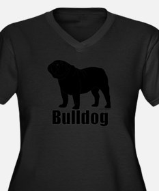 Bulldog Outline Women's Plus Size V-Neck Dark T-Sh