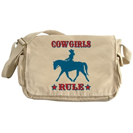 Red & Blue Cowgirls Rule Messenger Bag