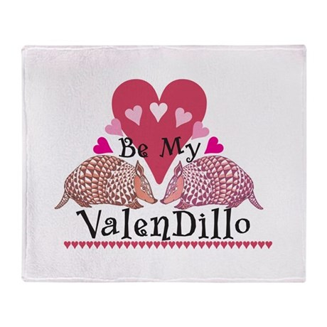 Armadillo Valentine's Day Throw Blanket