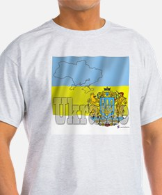 Silky Flag of Ukraine Ash Grey T-Shirt
