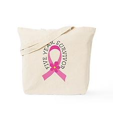 5 Year Survivor Breast Cancer Daisy Tote Bag