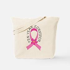 10 Year Survivor Breast Cancer Daisy Tote Bag