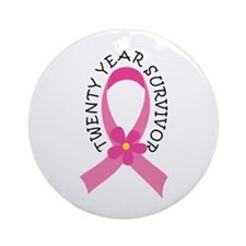20 Year Survivor Breast Cancer Daisy Ornament (Rou