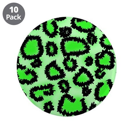 """Bright green animal print 3.5"""" Button (10 pack)"""