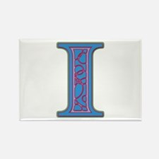 I Blue Glass Rectangle Magnet