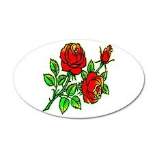 Tattoo Roses 22x14 Oval Wall Peel