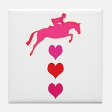 jumping horse & hearts Tile Coaster