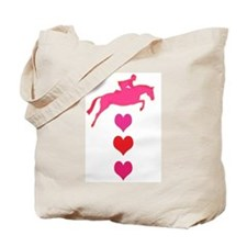 jumping horse & hearts Tote Bag