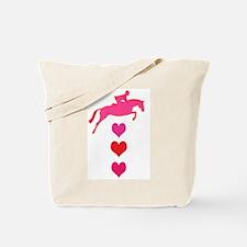 jumping horse & hearts Tote Bag