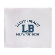 Lewes Beach DE - Varsity Design. Throw Blanket