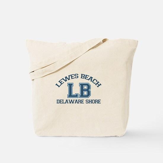 Lewes Beach DE - Varsity Design. Tote Bag