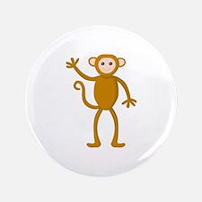 "Cute Waving Monkey 3.5"" Button"
