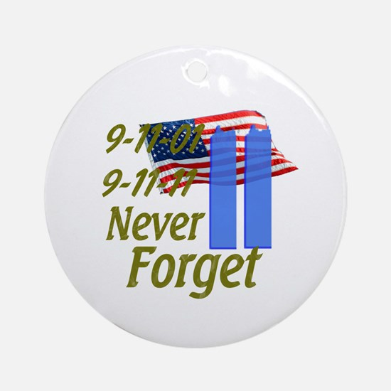 9-11 / Flag / Never Forget Ornament (Round)